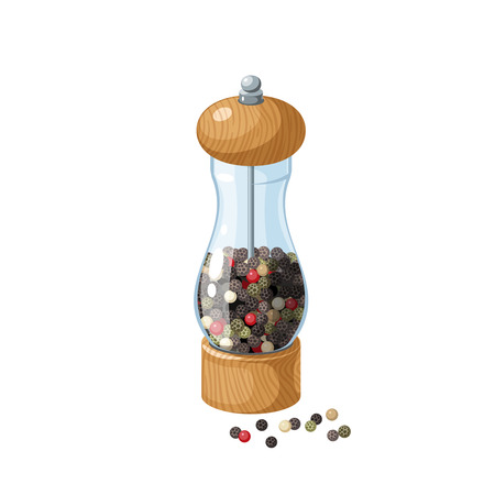 Transparent glass pepper mill with wooden bottom and cap, filled pepper peas. Vector cartoon illustration flat icon isolated on white.