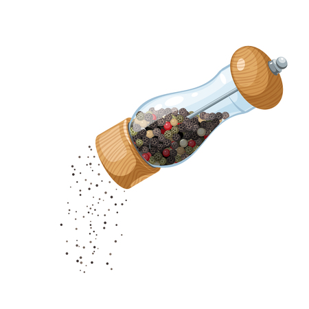 A transparent glass mill with a wooden bottom and a cap, filled with peppercorns, pouring ground pepper. Vector illustration cartoon flat icon, isolated on white.