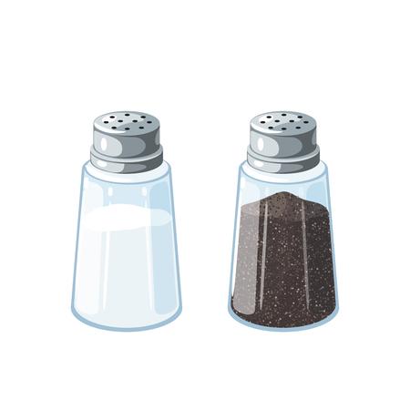 Sal y pimienta. Par de agitador de vidrio transparente con tapa de metal. Ilustración vectorial icono plano de dibujos animados aislado en blanco.