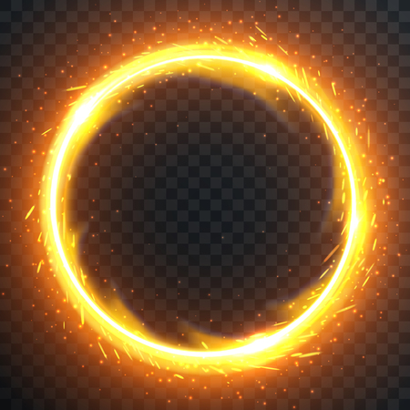 Realistic round light fire flame frame, vector template illustration on transparent background