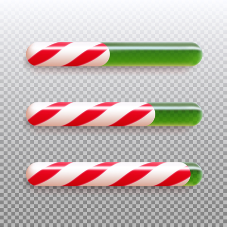 Set of realistic christmas candy cane progress bar. Vector illustration icon isolated. Illustration