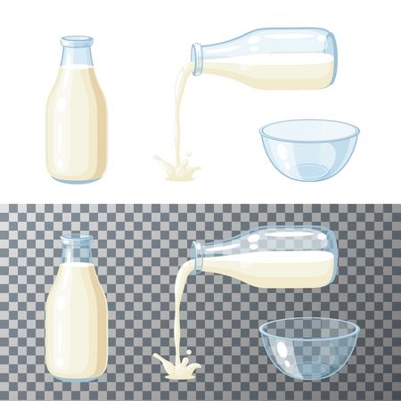 Milk set. Transparent glass bottle with milk, pouring milk, glass bowl. Vector cartoon illustration flat icon isolated on white. Illustration