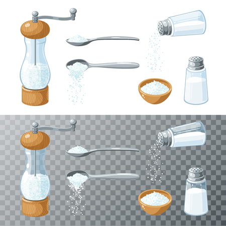 Salt collection. Transparent glass salt shaker with metal cap. Mill with wooden bottom and cap and metal handle. Metal spoon pouring salt. Vector cartoon illustration set flat icon isolated on white.