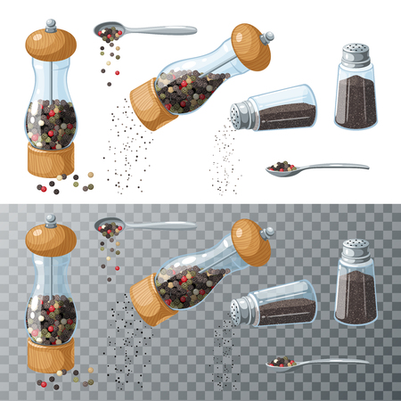 Pepper collection. Transparent glass mill, filled pepper peas. Pepper shaker, pouring ground pepper. Spoon with peppercorns. Vector illustration cartoon set flat icon isolated on white.