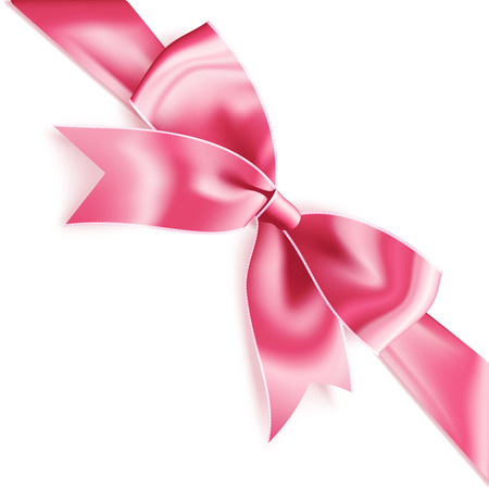 Realistic satin pink bow knot on ribbon. Vector illustration icon isolated on white.