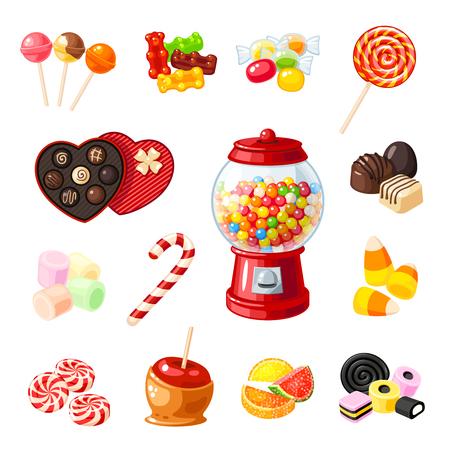 Legen Sie einzelne Karikatur-Bonbons fest: Lutscher, Zuckerstange, Bonbon, Marmeladen-Teddybär, Süßholz, kandierte Früchte, Gummibärchen-Maschine, Süßigkeiten-Apfel, Karamell. Flache Ikone der Vektorillustration lokalisiert auf Weiß. Standard-Bild - 84498334