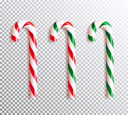 Set of realistic christmas candy cane. Vector illustration icon isolated. Illustration