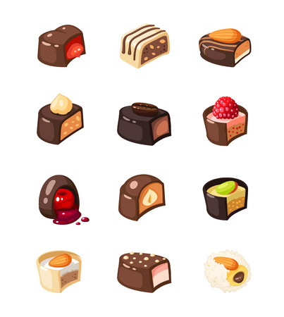 Set of chocolate covered bonbon stuffed nougat, mousse, cream. Vector illustration candy flat icon collection isolated on white background. Illustration