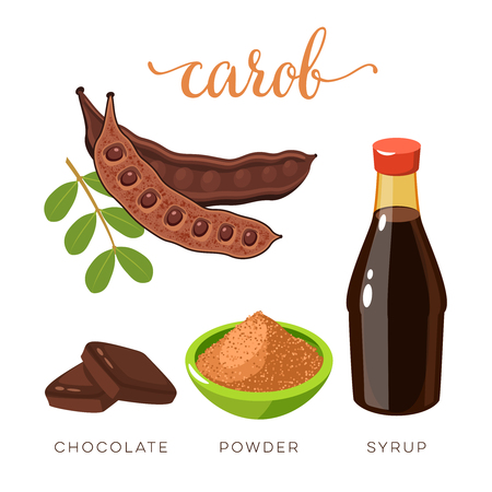 Superfood fruit. Set of carob pod bean with seeds, choko tile, carob powder and syrup. Vector illustration cartoon flat icon isolated on white background.