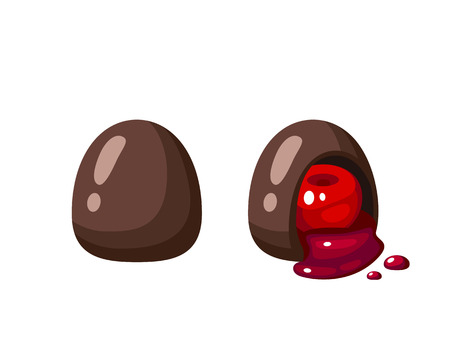 Chocolate covered bonbon filling cherry liquor. Vector illustration candy flat icon isolated on white background.