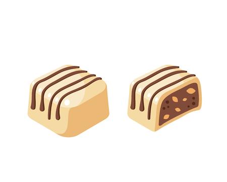 White chocolate covered bonbon stuffed nougat, striped dark chocolate. Vector illustration candy flat icon isolated on white background. Illustration