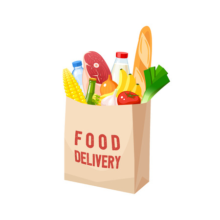 Grocery bag, dairy, meat, oil, veggies and baguette. Vector illustration cartoon flat icon isolated on white background. 向量圖像