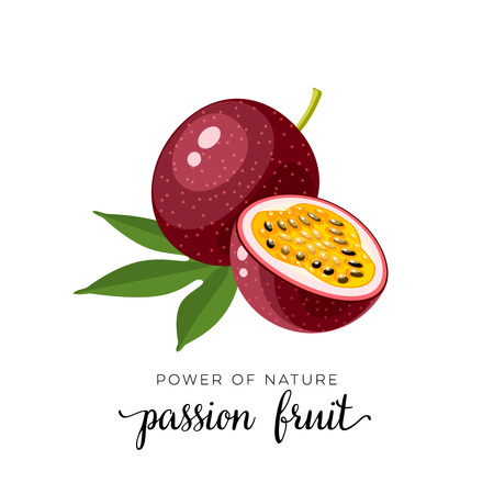 Superfood fruit. Passion fruit. Vector illustration cartoon flat icon isolated on white background. Stock Illustratie