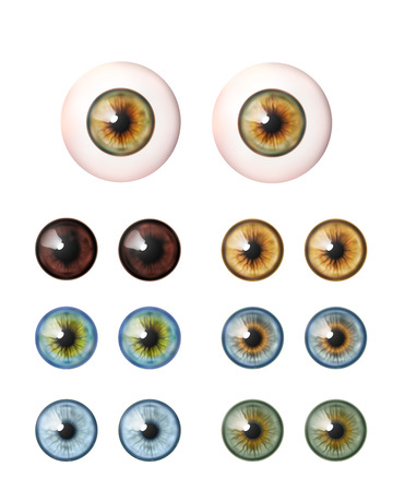 Set of realistic eyeballs. Human eye. Vector illustration collection icon isolated on white.