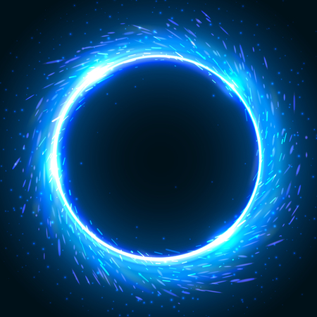 Realistic round blue flame frame, vector template illustration on black background