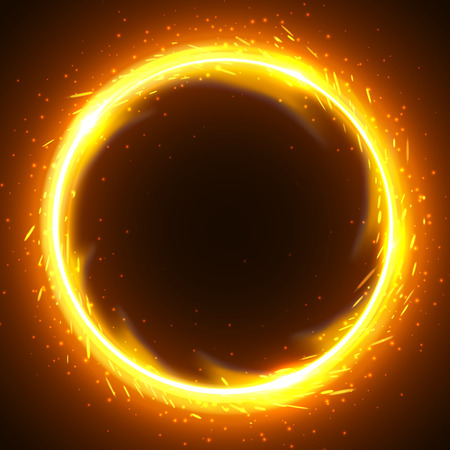 Realistic round light fire flame frame, vector template illustration on black background Ilustração