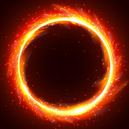 Realistyczna okrągła rama płomienia ognia, ilustracja szablon wektor na czarnym tle