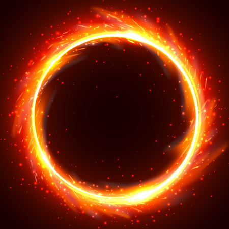 Realistic round light fire flame frame, vector template illustration on black background Vettoriali