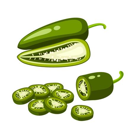 Hamburger ingrediënt. Gesneden jalapenopeper, half en heel. Vector illustratie cartoon platte pictogram geïsoleerd op wit.