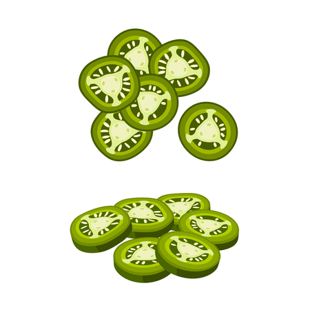 Hamburger ingredient. Sliced jalapeno pepper. Vector illustration cartoon flat icon isolated on white. 矢量图像