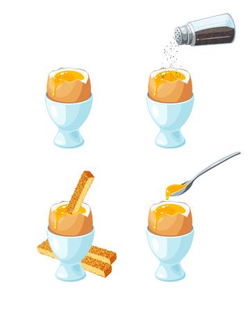 Zacht gekookt ei in eierschaal in eierhouder. Toast soldaten. Peperschudbeker gieten gemalen peper. Metalen lepel met vloeibare dooier. Vector illustratie cartoon platte pictogrammenset geïsoleerd op wit.