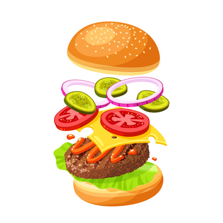 Hamburger cooking. Set of ingredients for burger . Sliced veggies, bun, cutlet, sauce. Vector illustration cartoon flat icon collection isolated on white. Иллюстрация