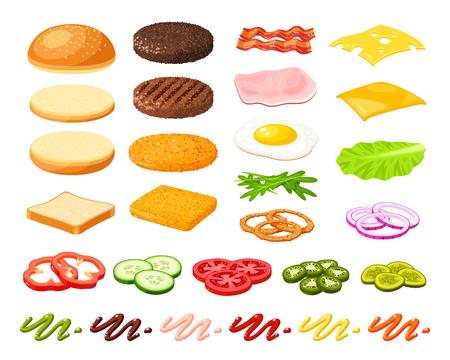 Conjunto de ingredientes para hambúrguer e sanduíche. Vegetal fatiado, bolinho, costeleta, molho. Ilustração vetorial coleção de ícones de desenhos animados isolado no branco. Ilustración de vector