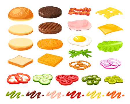 Set van ingrediënten voor hamburger en sandwich. Gesneden groenten, broodje, kotelet, saus. Vector illustratie cartoon platte icoon collectie geïsoleerd op wit. Vector Illustratie