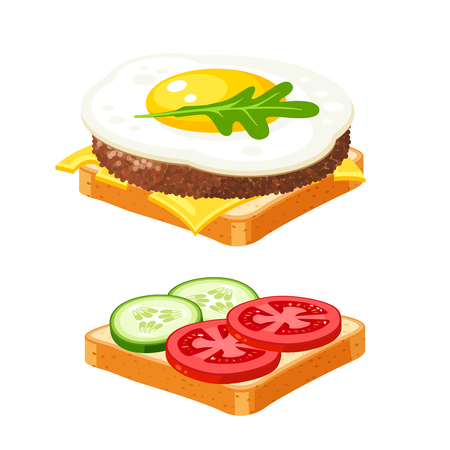 Couple sandwich. Sliced veggies, cutlet, omelette. Vector illustration cartoon flat icon collection isolated on white. Illustration