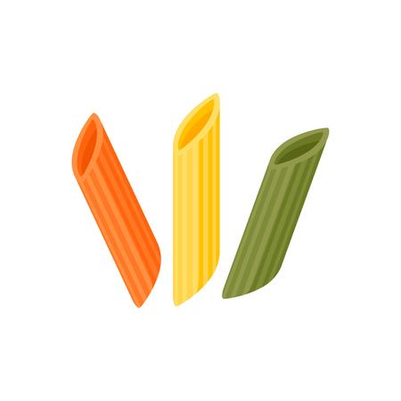 Italian cuisine. Pasta penne - maltagliati, spole, mostaccioli, tricolor - red, green, yellow. Vector illustration cartoon flat icon isolated on white.
