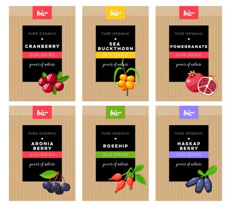 Verpackungsdesign. Konzeptaufkleber für das natürliche sonnengetrocknete Beerenmarketing. Cranberry, Sanddorn, Granatapfel, Aronia, Hagebutte, Haskap. Vektor flache Vorlage. Vektorgrafik