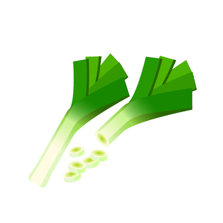 Vegetables. Leek, whole and sliced. Vector illustration cartoon flat icon isolated on white.