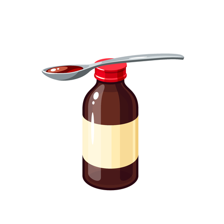 throat: Cough remedy. Bottle of medicine syrup and one dose in spoon for treat sore throat cold flu influenza. Vector illustration cartoon flat icon isolated on white.