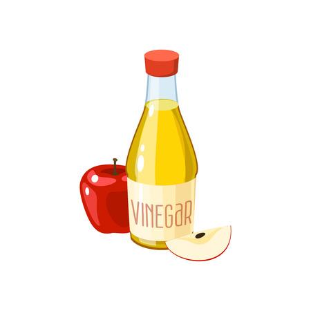 Manzana roja y botella de vinagre. Ilustración de vector icono plano de dibujos animados aislado en blanco.