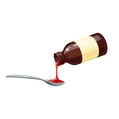 Hoestremedie. Giet één dosis in lepel van flesje medicijn siroop voor koude griepprothese bij keelpijn. Vector illustratie cartoon platte pictogram geïsoleerd op wit. Stockfoto - 88760588
