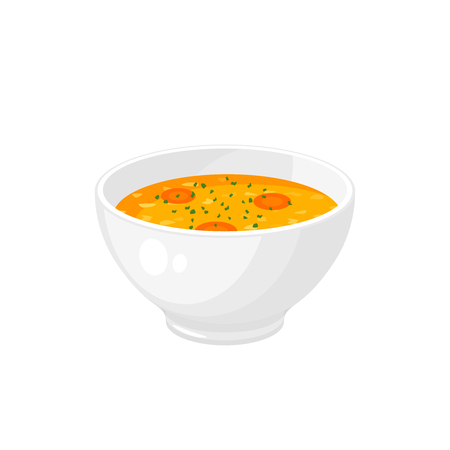 Bowl of soup - get well soon. Vector illustration cartoon flat icon isolated on white. Ilustração