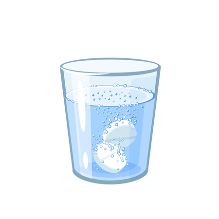 Effervescent aspirin tablets dissolve in a glass of water. Vector illustration cartoon flat icon isolated on white. Ilustração