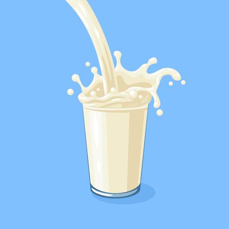 White milky flow and splash in full glass of milk. Vector cartoon illustration on blue.