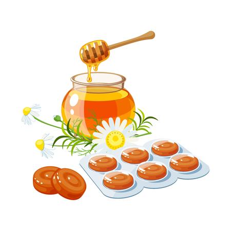 Gocce per la tosse. Rimedio mal di gola, pacchetto di losanghe, erbe e miele. Icona piana del fumetto dell'illustrazione di vettore isolata su bianco. Vettoriali