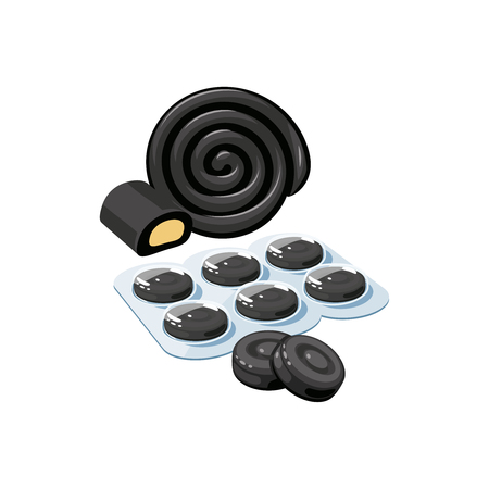 Cough drops. Sore throat remedy, package of black lozenges, licorice. Vector illustration cartoon flat icon isolated on white.