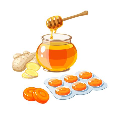 Hoest druppels. Keelpijn remedie, pakket oranje zuigtabletten, gember en honing. Vector illustratie cartoon platte pictogram geïsoleerd op wit. Stock Illustratie
