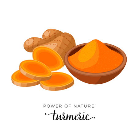 Superfood spice. Turmeric root slices and powder. Vector illustration cartoon flat icon isolated on white.