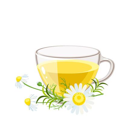 Beker van hete kamille thee en steel met bladeren en bloemen. Kamille stengel met bladeren en bloemen. Vector illustratie cartoon platte pictogram geïsoleerd op wit.