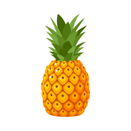 Sommerfrüchte für gesunden Lebensstil. Ananasfrucht. Flache Ikone der Vektorillustrations-Karikatur lokalisiert auf Weiß.