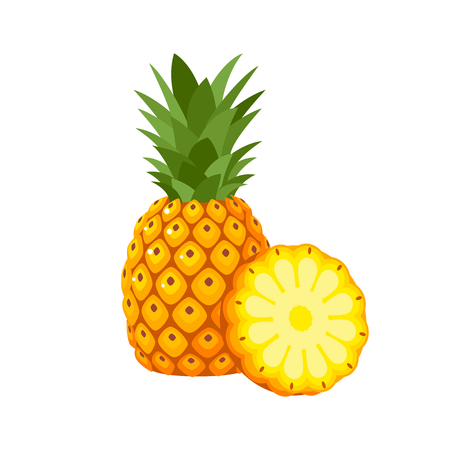 Summer fruits for healthy lifestyle. Pineapple fruit, whole and slice. Vector illustration cartoon flat icon isolated on white. Vettoriali