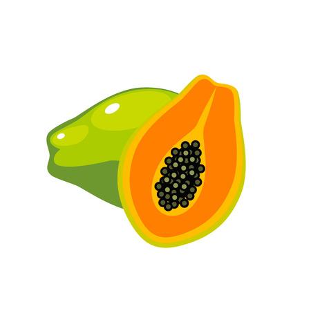 여름 과일 건강 한 라이프 스타일입니다. 파파야, 전체 과일과 반. 벡터 일러스트 레이 션 만화 플랫 아이콘 화이트 절연입니다.