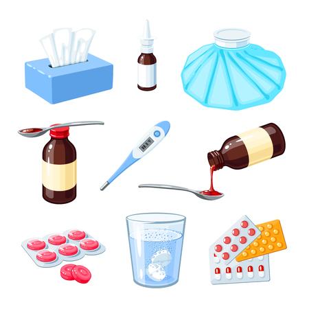 Zestaw medyczny środek na ból gardła, grypa, grypa, kaszel. Ilustracje wektorowe