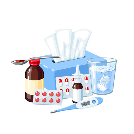 Medication for sore throat, flu, influenza, cough: medicine syrup, ice bag, lozenges, pills, capsules, drugs.