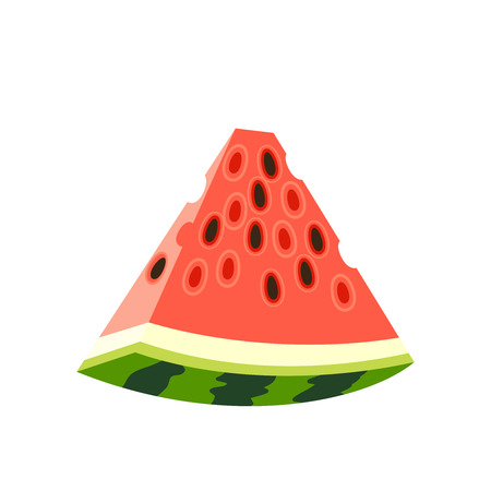 Summer fruits for healthy lifestyle. Slice of red ripe watermelon with black seeds. Vector illustration cartoon flat icon isolated on white.