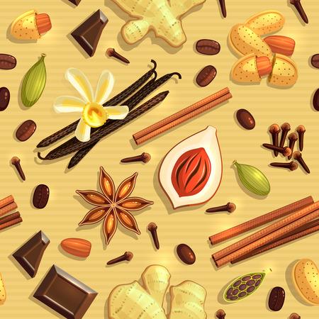 Gourmet Coffee Spices, cardamon, cinnamon, vanilla, seamless pattern. Raster version. Stock Photo